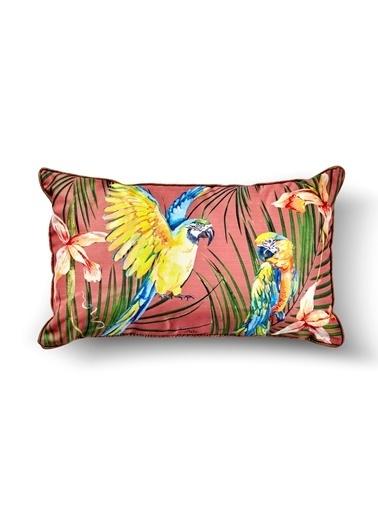 The Mia Tropik Yastık - Parrot Pembe 50 x 30cm Renkli